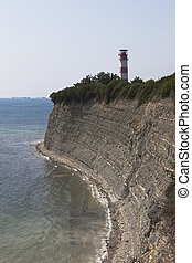 Lighthouse on a steep bank of Tolstoy Cape in Gelendzhik