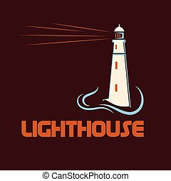 Lighthouse on abstract sea background