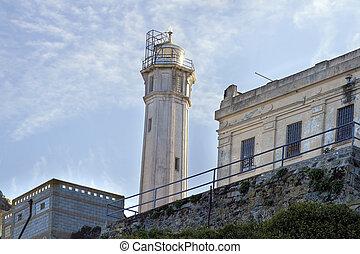 Lighthouse on Alcatraz Island in San Francisco