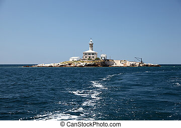 Lighthouse on an island in the Adriatic Sea, Croatia