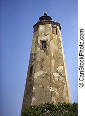 Worn and weathered lighthouse on Bald Head Island, North Carolina.