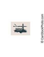 Lighthouse on brush stroke seashore. Clouds line with retro airplane icon. Vector illustration. Pensacola city name text.