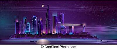Lighthouse on city bay shore cartoon vector