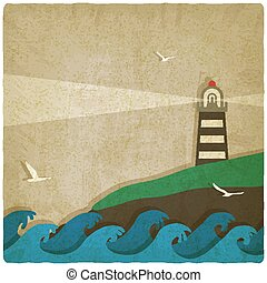 lighthouse on cliff by sea old background. vector illustration - eps 10