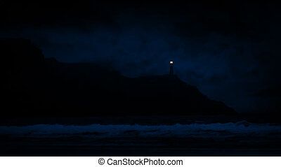 Lighthouse On Cliffs At Night