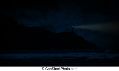 Lighthouse On Coast At Night