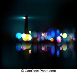Lighthouse on coast, neon light. Eps 10