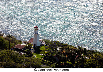Lighthouse on coast of Waikiki in Hawaii - Lighthouse on...