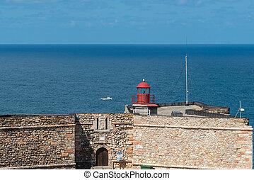Lighthouse on Forte do Morro, Nazare (Portugal)