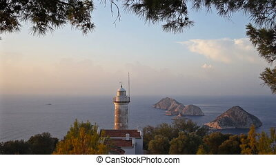 Lighthouse on Gelidonya cape in day time in Adrasan Antalya Turkey.