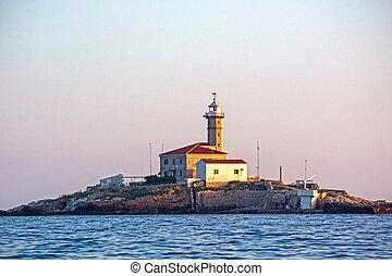 Lighthouse on island in Croatia