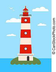 Lighthouse on Island with Navigation Light