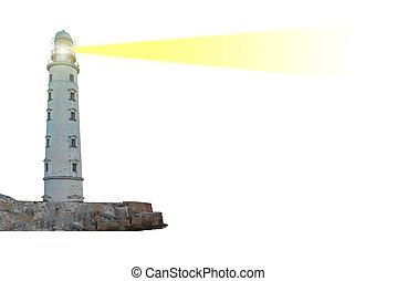 Lighthouse on island with searchlight beam through air...