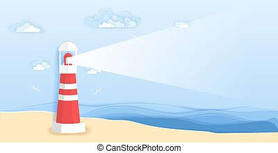Lighthouse on sea beach in paper art style. Vector illustration origami paper cut design. Lighthouse beam with copy space.