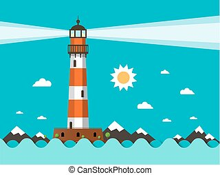Lighthouse on Sea Flat Design Vector