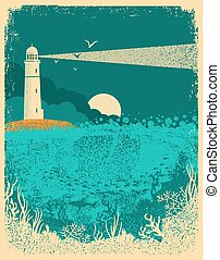 Lighthouse on sunset with sea waves.Underwater sea background on old paper texture