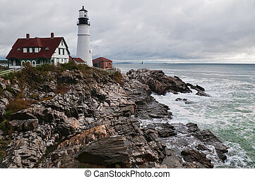 Lighthouse on the Atlantic coast, Cape Elizabeth, Maine