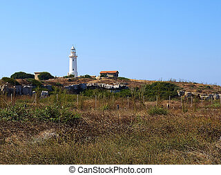 Lighthouse on the coast of Paphos Cyprus near the archeological site