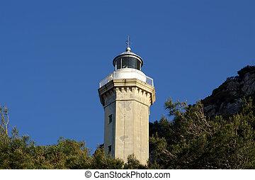 Lighthouse on the coast of the Mediterranean Sea, Sicily, Italy