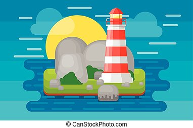 Lighthouse on the island, vector illustration