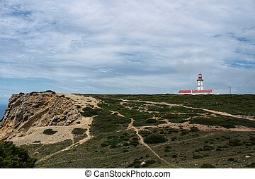 Lighthouse on top of cliff and surrounded by vegetation at Cape Espichel