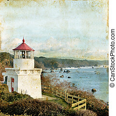 Trinidad Memorial Lighthouse on a Grunge Background. Northern California.