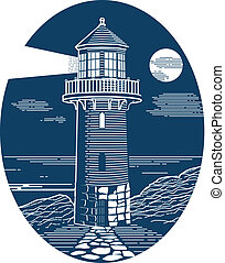 Line art of a lighthouse in an oval shape