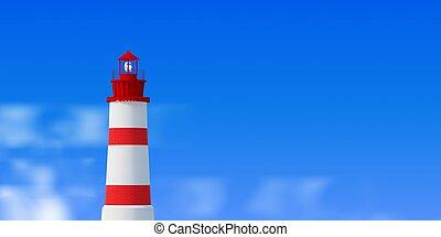 Lighthouse over blue sky background