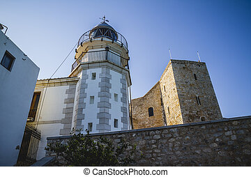 Lighthouse penyscola views, beautiful city of Valencia in Spain