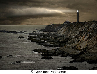 lighthouse during a storm