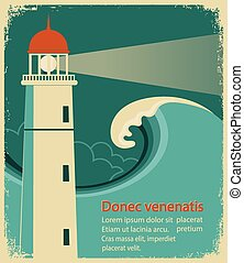Lighthouse poster for text on old paper