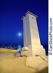 lighthouse Puerto Morelos night moon sea