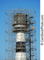 a lighthouse under construction