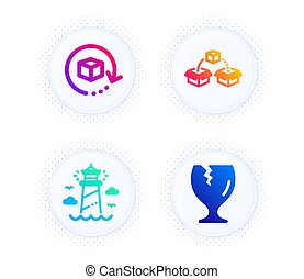 Lighthouse, Return package and Parcel shipping icons set. Fragile package sign. Vector