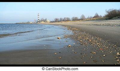 Lighthouse Sand beach in Baltic sea