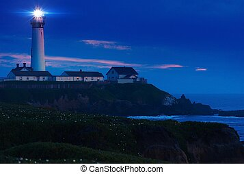 Lighthouse Scenery at Night. Pigeon Point Lighthouse in...