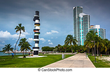 Lighthouse sculpture and walkway at South Pointe Park, Miami Bea