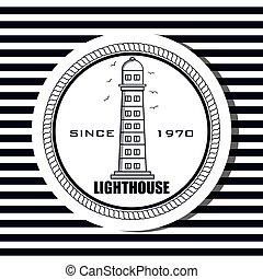 lighthouse sea life icon design