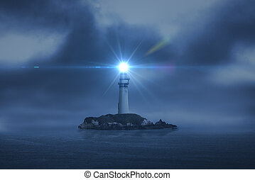 lighthouse searchlight beam through marine air at night