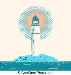Lighthouse seascape horizon illustration.