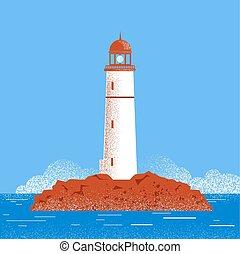 Lighthouse seascape illustration.