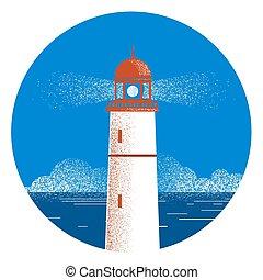 Lighthouse seascape logo illustration.