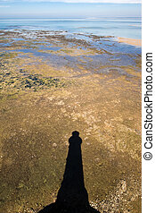 lighthouse shadow in landscape