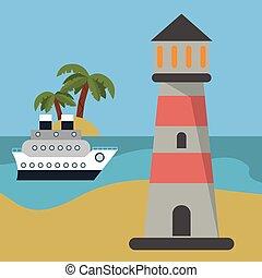 lighthouse ship beach vacation
