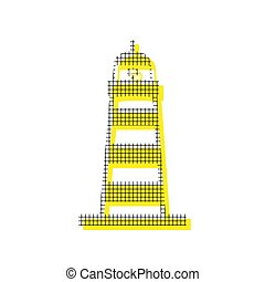 Lighthouse sign illustration. Vector. Yellow icon with square pa