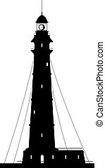Lighthouse. Silhouette of large lighthouse isolated on white background