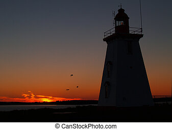 Lighthouse Silhouette - Silhouette of a Lighthouse at sunset...
