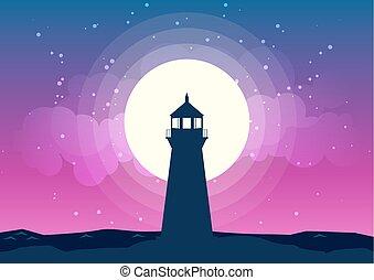 Lighthouse Silhouette Vector Moonlight