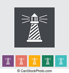 Lighthouse. Single flat icon. Vector illustration.