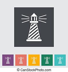 Lighthouse. Single flat icon. Vector illustration.